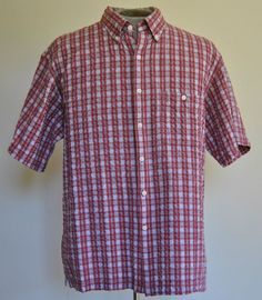 Van Heusen Shirt L Red Plaids Classic Fit Button-Down 100% Cotton Short Sleeve #VanHeusen free shipping auction starting at $12.99