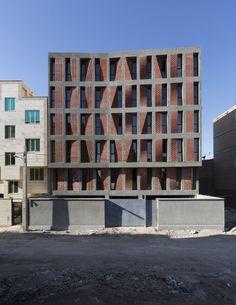 Kahrizak Residential Building - Architects - CAAT Studio - photo by Parham Taghiof, Ashkan Radnia Architecture Design, Residential Architecture, Contemporary Architecture, Parametric Architecture, Architecture Office, Brick Design, Facade Design, Brick Detail, Brick Patterns