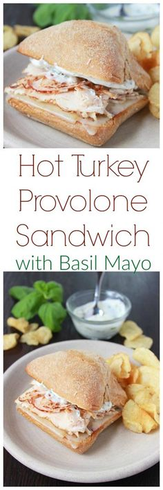 Hot Turkey Provolone Sandwich with Basil Mayo on www.cookingwithruthie.com is SO good!  Bring your favorite deli home with this savory sandwich!