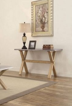 Luella Contemporary Weathered Oak Wood Sofa Table