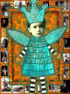 Ingrid's altered books and Journals - this page with its little photos of Indians around the border. Click on the image to see more pages. #art #craft #altered art
