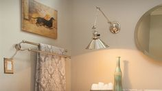 Linfield towel bar coordinates nicely with the Reed swing-arm wall bracket.