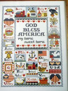 God Bless America Cross Stitch Sampler PATTERN ONLY Jeremiah Junction 86 Design #Paragon #Sampler