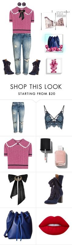 """loop here and there"" by fairuzamoon ❤ liked on Polyvore featuring For Love & Lemons, Miu Miu, Chanel, Oscar de la Renta, Chloé, Gabriella Rocha and Lime Crime"
