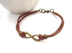 Infinity link bracelet bronze vintage tone brown cord