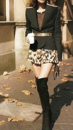 Structured Shoulder Black Blazer, Gold Belt, Print Skirt, Thigh High Boots // not normally a fan of boots like these, but she makes it work