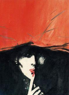 René Gruau / red + black illustration