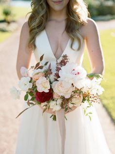 Peony and rose wedding bouquet: Photography : Davy Whitener Read More on SMP: http://www.stylemepretty.com/texas-weddings/houston/2017/03/06/this-is-how-you-bring-old-world-glamour-to-texas/