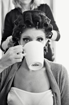 love this shot of the bride getting ready...with her coffee!