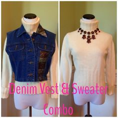 Sweater & Denim Vest Combo Both of these items are in excellent condition!!!  Turtleneck sweater is extra warm and soft 78% wool and 22% angora. Size small by Sisley. The denim is by Pierre Cardier, super cute with little pop of color on collar and down one side-see last pic. Size is medium but runs a bit small, it has adjustable side tabs for a sure fit. Selling both for one low price. see description Sweaters