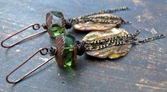 Algae - OOAK wearable art polymer clay green brown algae bark textured chain earrings. by PreciousViolet on Etsy