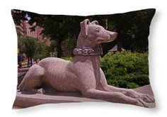 Ever Vigilant Throw Pillow ~ One of two stone dogs at the southwest corner entrance to Rittenhouse Square in Philadelphia, Pennsylvania. The sculptures were removed in 2013, after they were vandalized. Decorative throw pillows available in multiple sizes.   www.ronablack.com