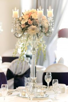 5 Arm Clear Crystal Candelabra with Steal Features- Glamorous 90cm crystal flower and candle #centrepiece