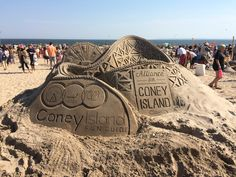 Here is another fabulous sand sculpture on one of my favorite beaches here in New York City the Great Coney Island Dolphin Family, Sand Sculptures, Coney Island, Dolphins, Monument Valley, Beaches, New York City, Louvre, My Favorite Things