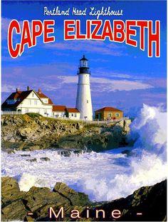 Cape Elizabeth Maine Lighthouse United States Travel Advertisement Art Poster