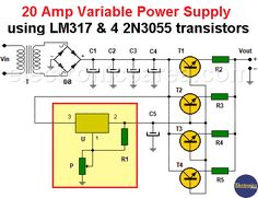 20 Amp Variable Power Supply with an output voltage from 1.5 to 15 volts using the LM317 regulator and 4 power transistors to amplify the current capacity Electronic Circuit Design, Electronic Engineering, Electronics Basics, Electronics Projects, Battery Charger Circuit, Power Supply Circuit, Electronic Schematics, Electrical Projects, Audio Amplifier