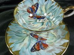 AYNSLEY  TEA CUP and SAUCER BLUE MUM / BUTTERFLY SIMPLY STUNNING CABINET DUO!!