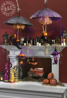RAZ Halloween Mantel Creation...browse through the RAZ Halloween Category to see the items available that were used in this display