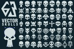 63 Vector Skulls Collection (Graphic) by pixaroma · Creative Fabrica Skull Stencil, Skull Art, Skull Icon, Skull Logo, Vector Shapes, Vector Art, Eps Vector, Halloween Projects, Creative Sketches