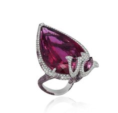 Tourmaline & Diamond Ring in White Gold by Chopard.