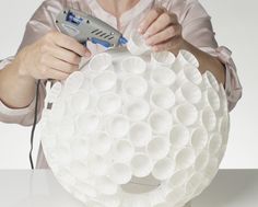 How to make a lamp / lampshade. Paper Cup Pendant Light Shade - Step 7