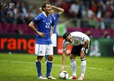 Germany's Oezil prepares for a penalty next to Italy's Alessandro Diamanti during their Euro 2012 semi-final soccer match at the National stadium in Warsaw. KAI PFAFFENBACH/REUTERS