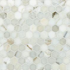 Welcome to Artistic Tile 1 hexagon calacatta gold honed with Mapei white grout. MECGHHX : Welcome to Artistic Tile 1 hexagon calacatta gold honed with Mapei white grout. Calacatta Gold Marble, Marble Mosaic, Stone Mosaic, Hexagon Backsplash, Hexagon Tiles, Backsplash Ideas, Hex Tile, Tile Ideas, Bath Tiles
