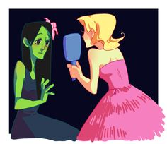 """offishwhite:  """"Why Miss Elphaba…you're beautiful!""""  my doodles are all turning into Wicked because god I love it"""