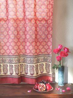 Gorgeous Curtains -- India Rose ~ Luxury Pink Floral Indian Sari Print Curtain Panel