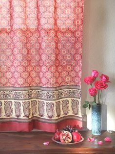 India Rose ~ Luxury Pink Floral Indian Sari Print Curtain Panel