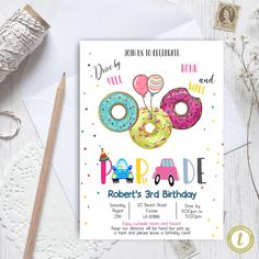 Editable Drive By Donuts Birthday Parade Invitation, Virtual Party Invite,  Car Girl Pink Quarantine, Instant Download Digital, YOU PRINT Baby Announcement Cards, Preschool Graduation, Donut Party, Party Invitations, Invite, Wedding Car, Party Printables, 3rd Birthday, Pink Girl