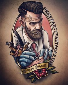 tataujes new school para tatuadorYou can find Tattoo new school and more on our website.tataujes new school para tatuador Barber Tattoo, Barber Logo, Leg Tattoos, Tattoos For Guys, Sleeve Tattoos, Neo Traditional Tattoo, American Traditional, Tatoo Art, Color Tattoo