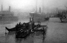 Old photograph of Govan ferry on the River Clyde, Glasgow, Scotland