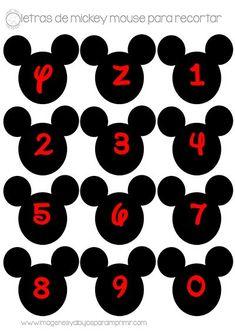Letras y números de mickey mouse