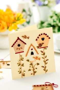 Intricate bird motifs have been quilled for this card / October 2014 issue of Crafts Beautiful