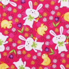 Fabric Just Hatched Easter pink bunny from Quilting Treasures