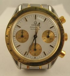 Estate OMEGA SPEEDMASTER 18k Gold Stainless Steel Automatic Swiss Watch