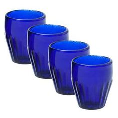 Set of four double old fashioned glasses in cobalt.  Product: Set of 4 glassesConstruction Material: GlassColor: Cobalt