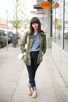 love the chambray and army green jacket
