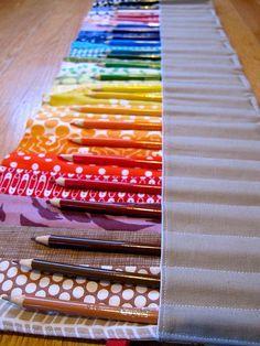 colored pencil roll - gift idea for boys