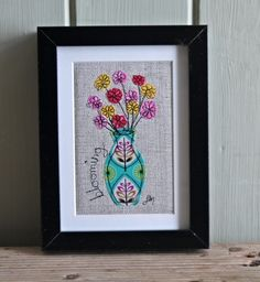 Blooming vase - framed freestyle machine embroidery £13.00