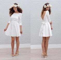 2016 Spring Bohemian Short Wedding Dresses Long Sleeves Sexy Backless Buttons Bow Knee Length Cheap Bridal Wedding Gowns For Beach Boho Slim Line Wedding Dresses Taffeta Wedding Dresses From Whiteone, $105.79| Dhgate.Com