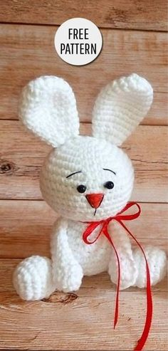 Amigurumi Cute Bunny Free Pattern - Amigurumi X Animal Knitting Patterns, Easter Crochet Patterns, Crochet Dolls Free Patterns, Stuffed Animal Patterns, Amigurumi Patterns, Crochet Toys, Amigurumi Doll, Handmade Toys, Handmade Crafts