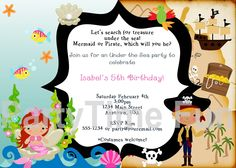 Customized Pirate and Mermaid Birthday Invitations by PartytimeFun, $9.99