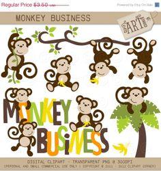 20% OFF Digital Clipart - Monkey Business (DC-8835). $2.80, via Etsy.