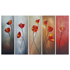 Wieco Art 5 Piece Floral Oil Paintings on Canvas Wall Art Ready to Hang for Living Room Bedroom Home Decorations Large Red Petals Modern Hand Painted Wrapped Contemporary Flowers Artwork Oil Painting For Sale, Oil Painting On Canvas, Painting Art, Hand Painted Canvas, Canvas Wall Art, Flower Artwork, Painting Gallery, Panel Art, Original Paintings