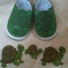 Too cute turtle shoes and blanket.