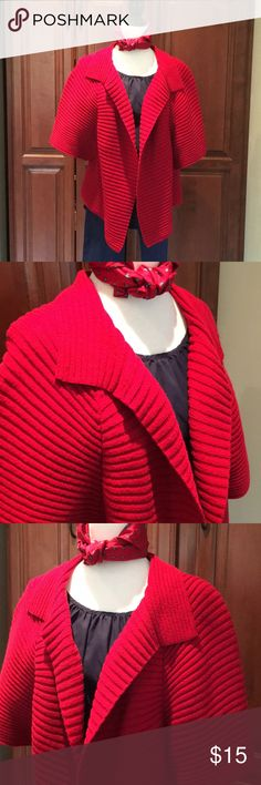 """TALBOTS CAPE STYLE OPEN CARDIGAN Nice clean used condition! Says its a small petite but I wear it as a large crop cardigan and it looked great! Fabulous color for this time of year! Bust 40"""", Length 22"""".🎁🎁🎁🎁🎁🎁 Talbots Sweaters Cardigans"""