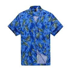 Men Hawaiian Aloha Shirt in Blue with Green Turtles