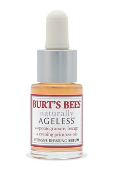 """I have pretty sensitive skin, and I'll use this at night and it doesn't react at all. You could also use it over makeup, dabbed around the eyes or anywhere you have fine lines that need a bit of softening."" Burt's Bees Naturally Ageless Intensive Repairing Serum, $25, burtsbees.com.   - HarpersBAZAAR.com"